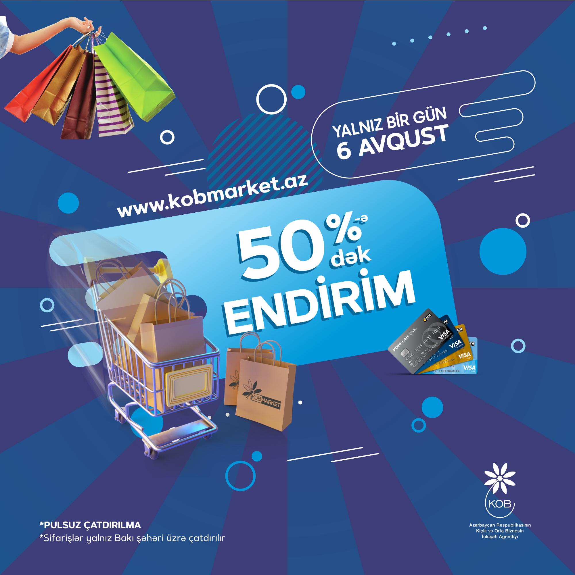 На портале онлайн-продаж www.kobmarket.az будет действовать скидка до 50%